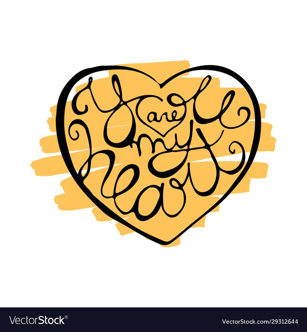 Romantic lettering inside heart shape