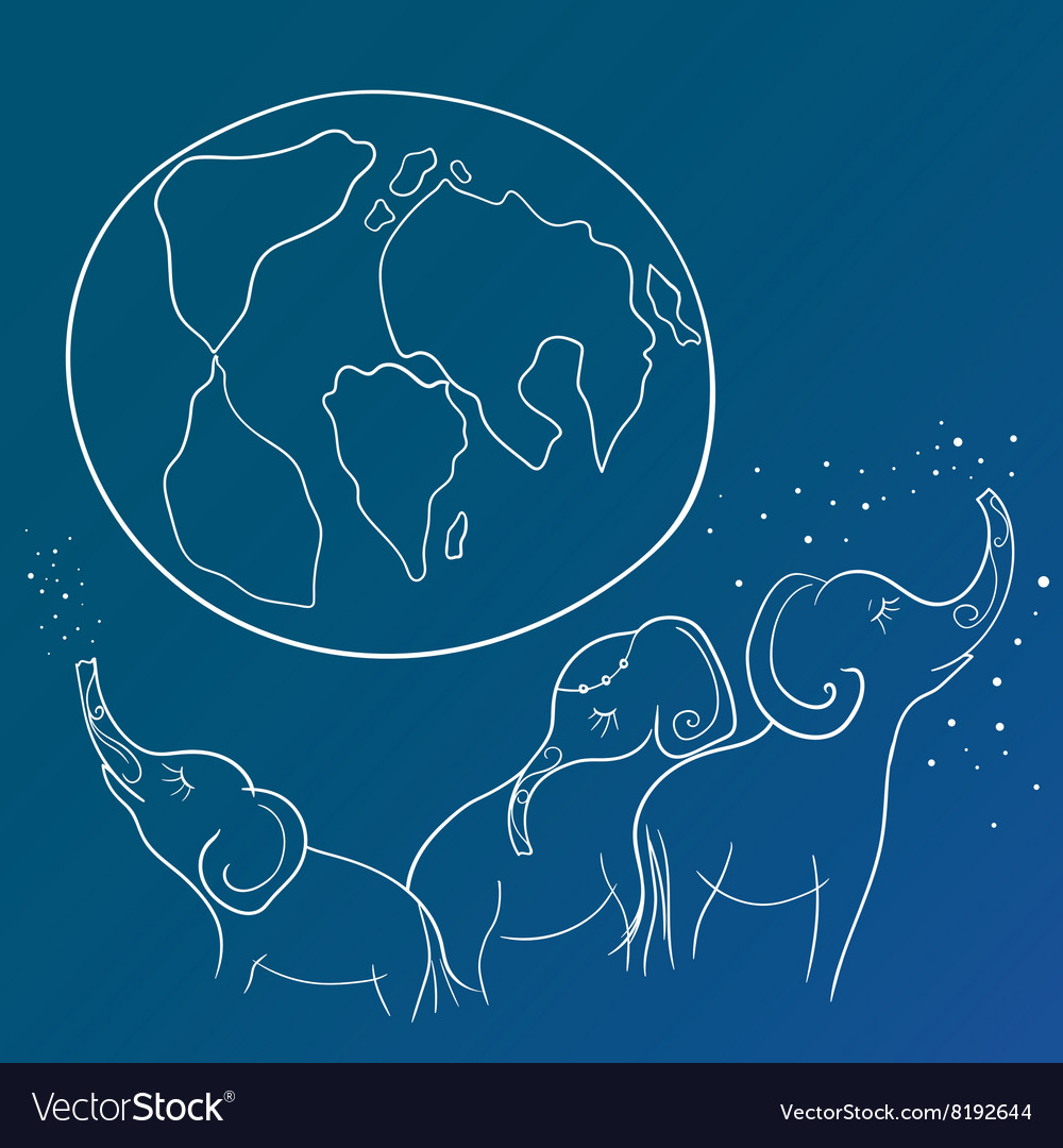 Sketch with Elephant Family and the Earth