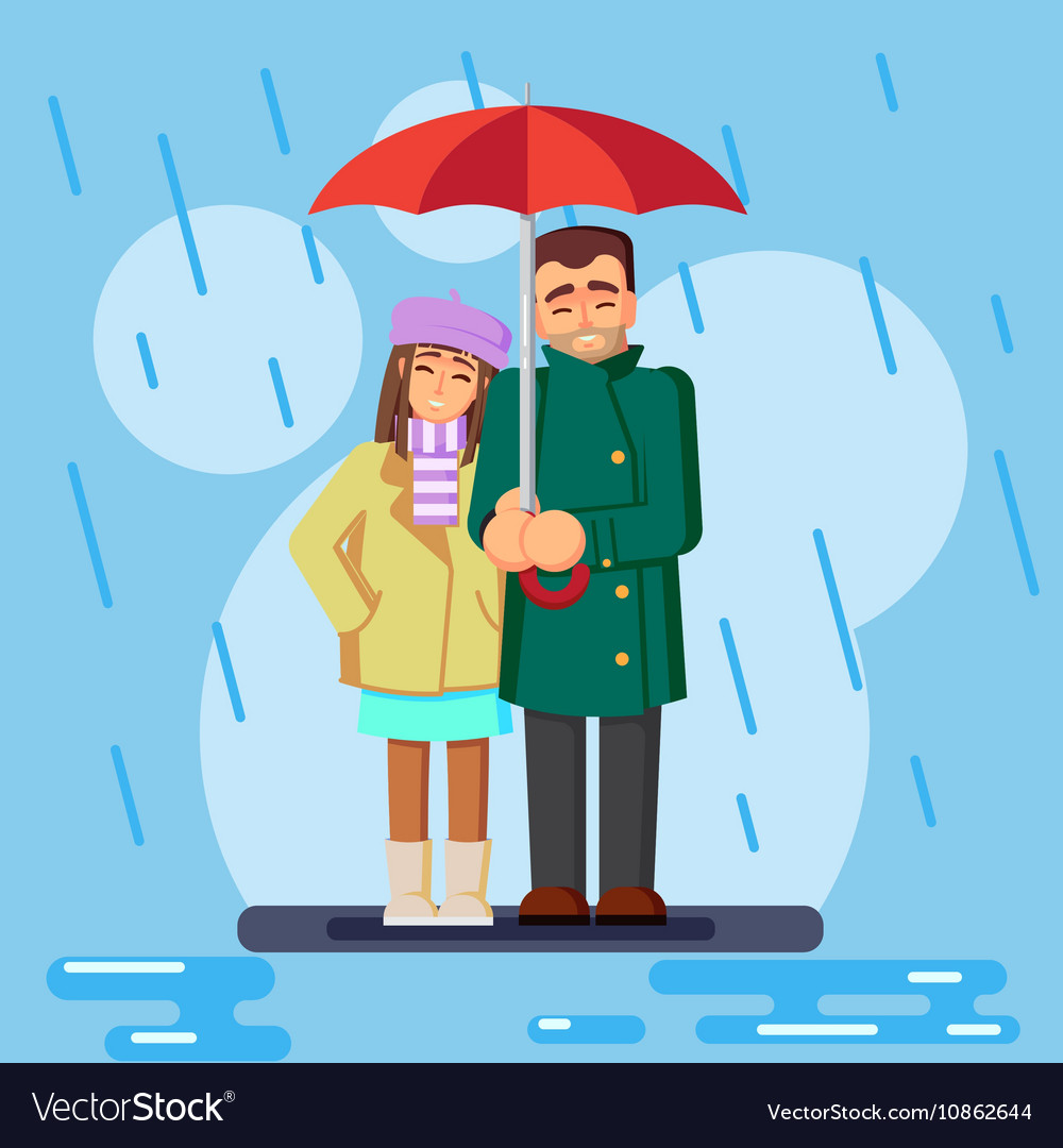 The Cute Flat Loving Couple In The Rain Royalty Free Vector