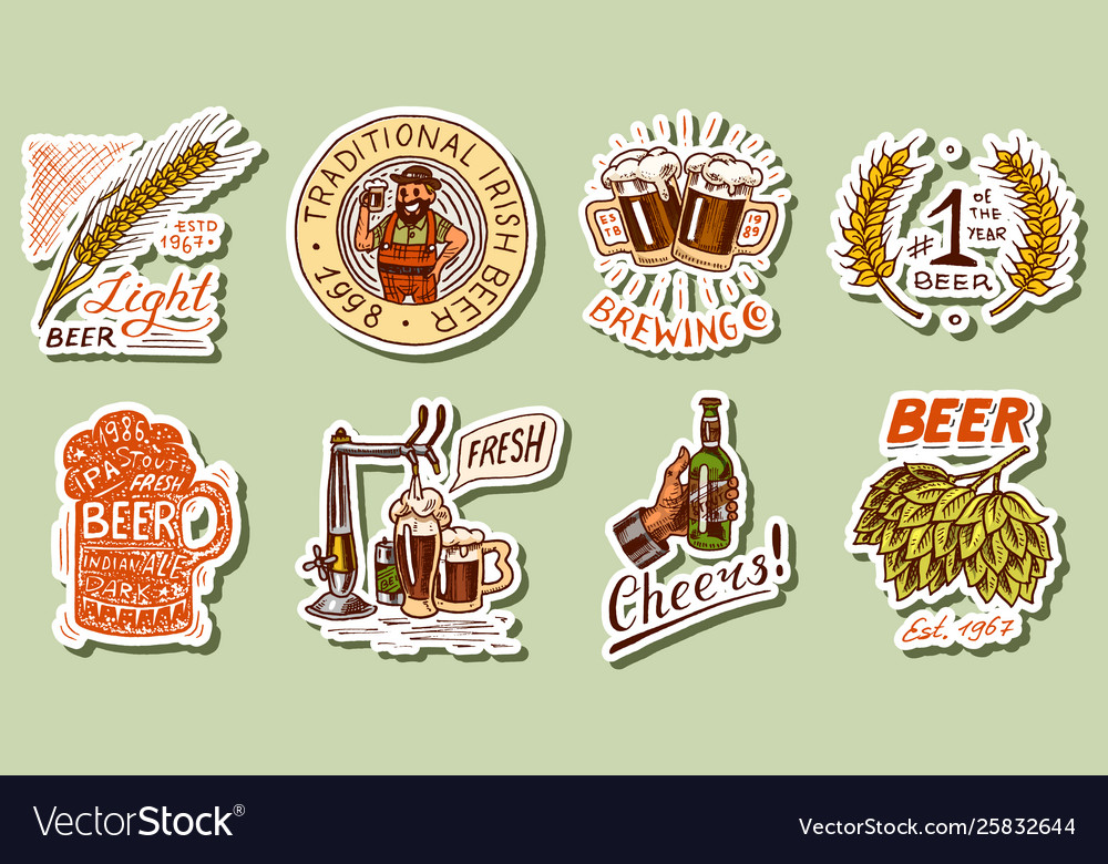 Vintage beer stickers set alcoholic label with