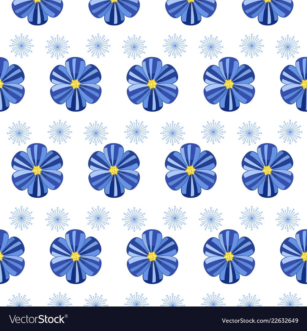 Blue simple flowers seamless pattern