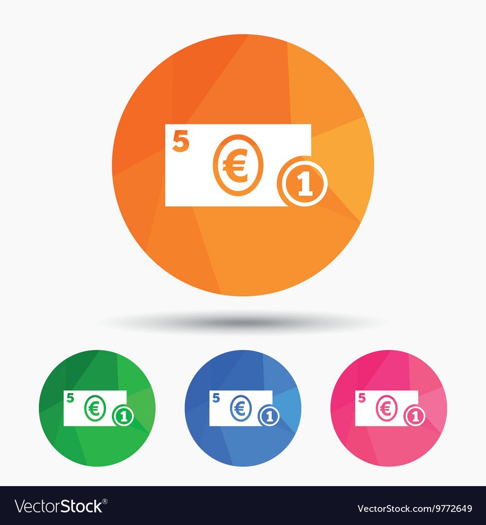 Cash Sign Icon Euro Money Symbol Coin Royalty Free Vector
