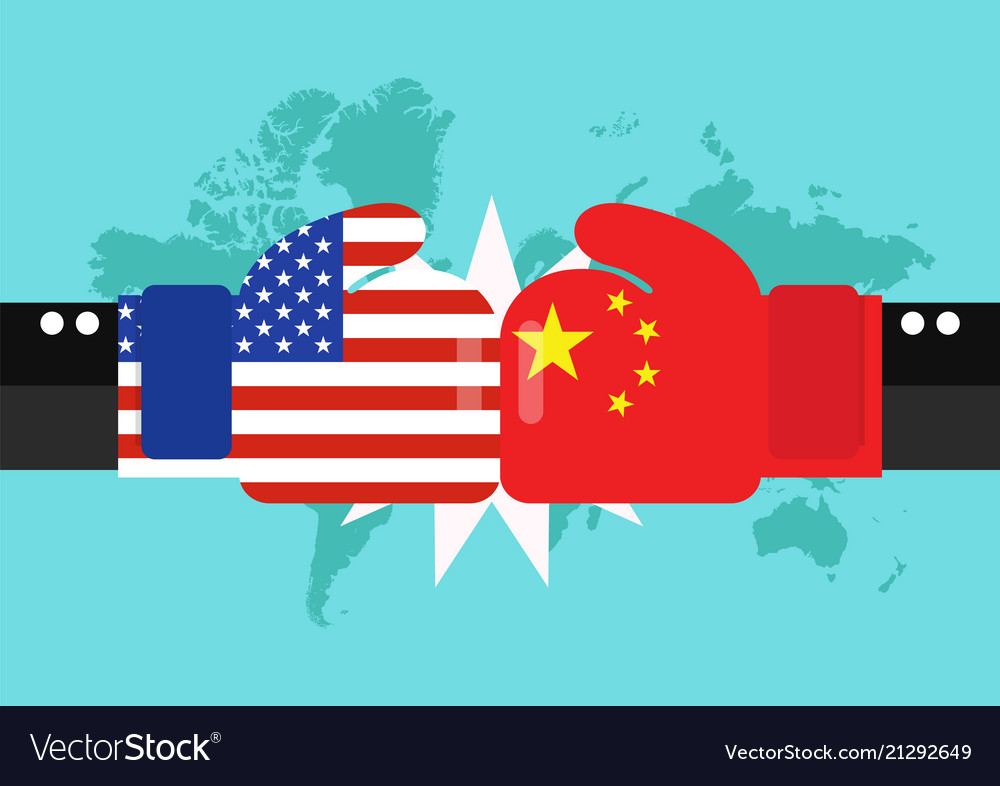 Conflict between usa and china with world map