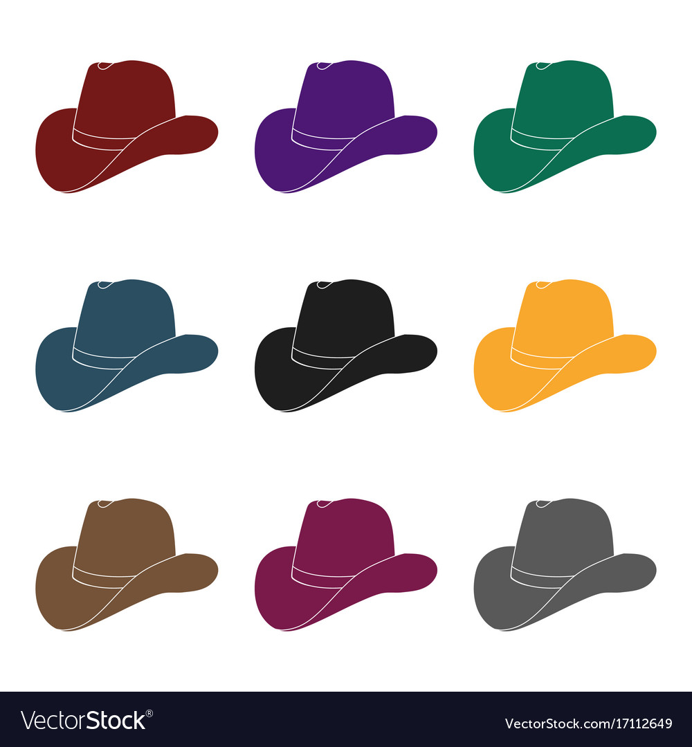 Cowboy hat icon in black style isolated on white