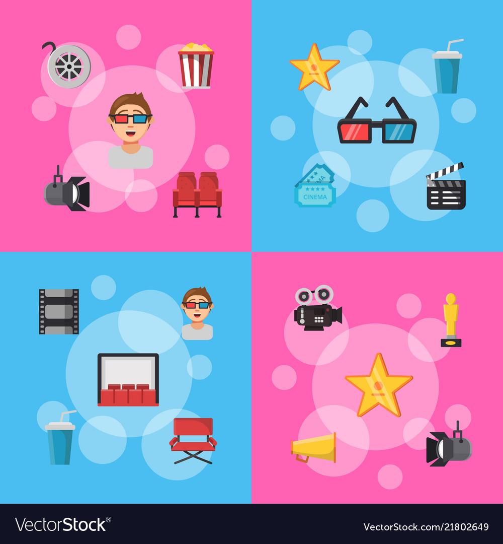Flat cinema icons infographic concept