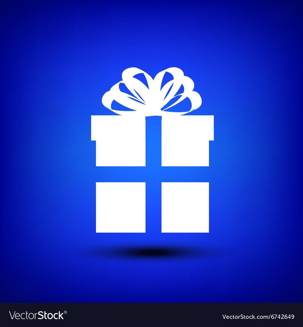 Gift box white on blue