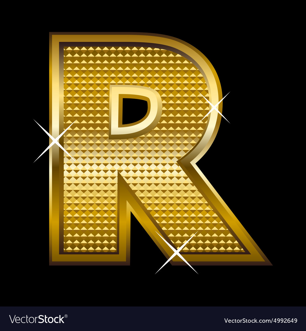 Golden Font Type Letter R Royalty Free Vector Image