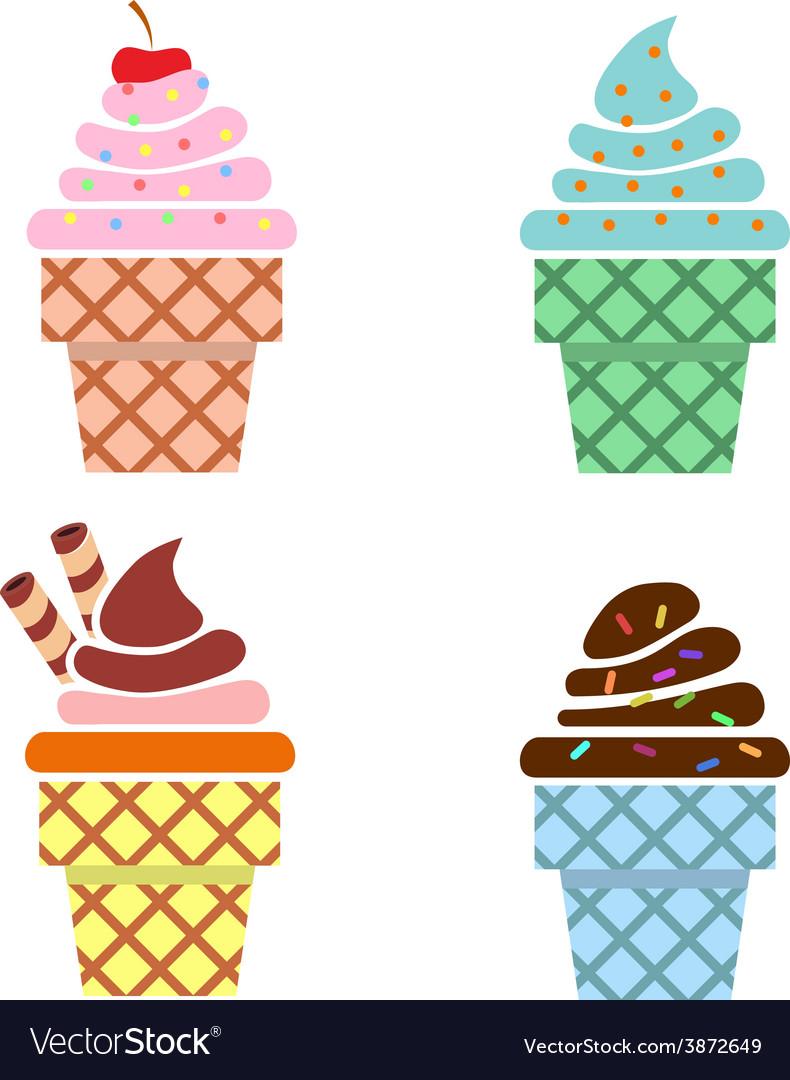 Ice cream web icons Flat design vector image