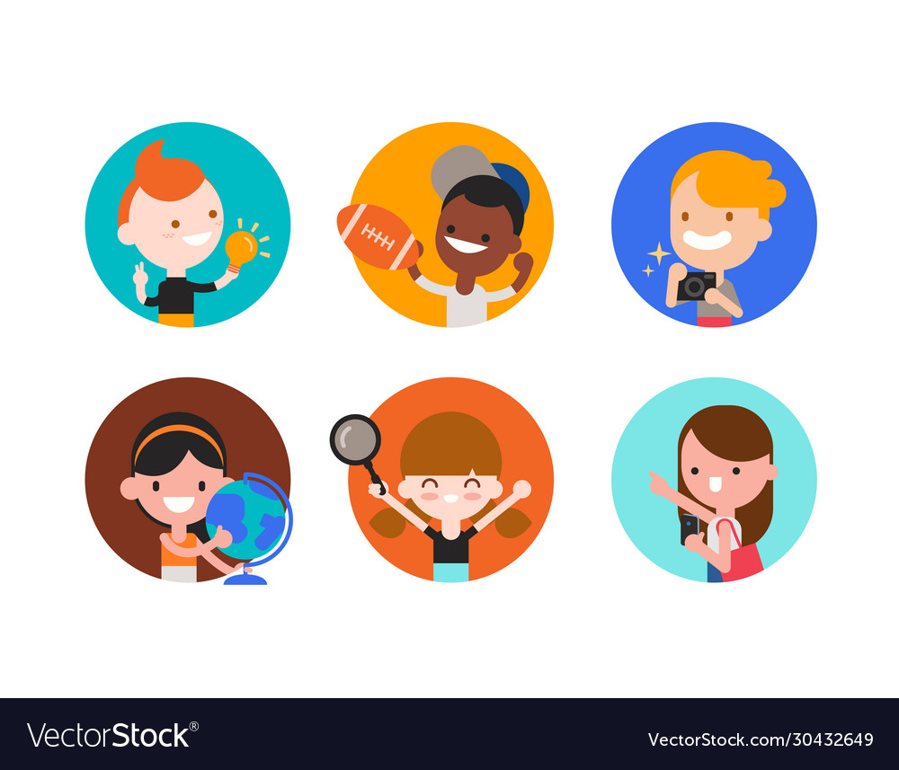 Kids character with various objects in flat