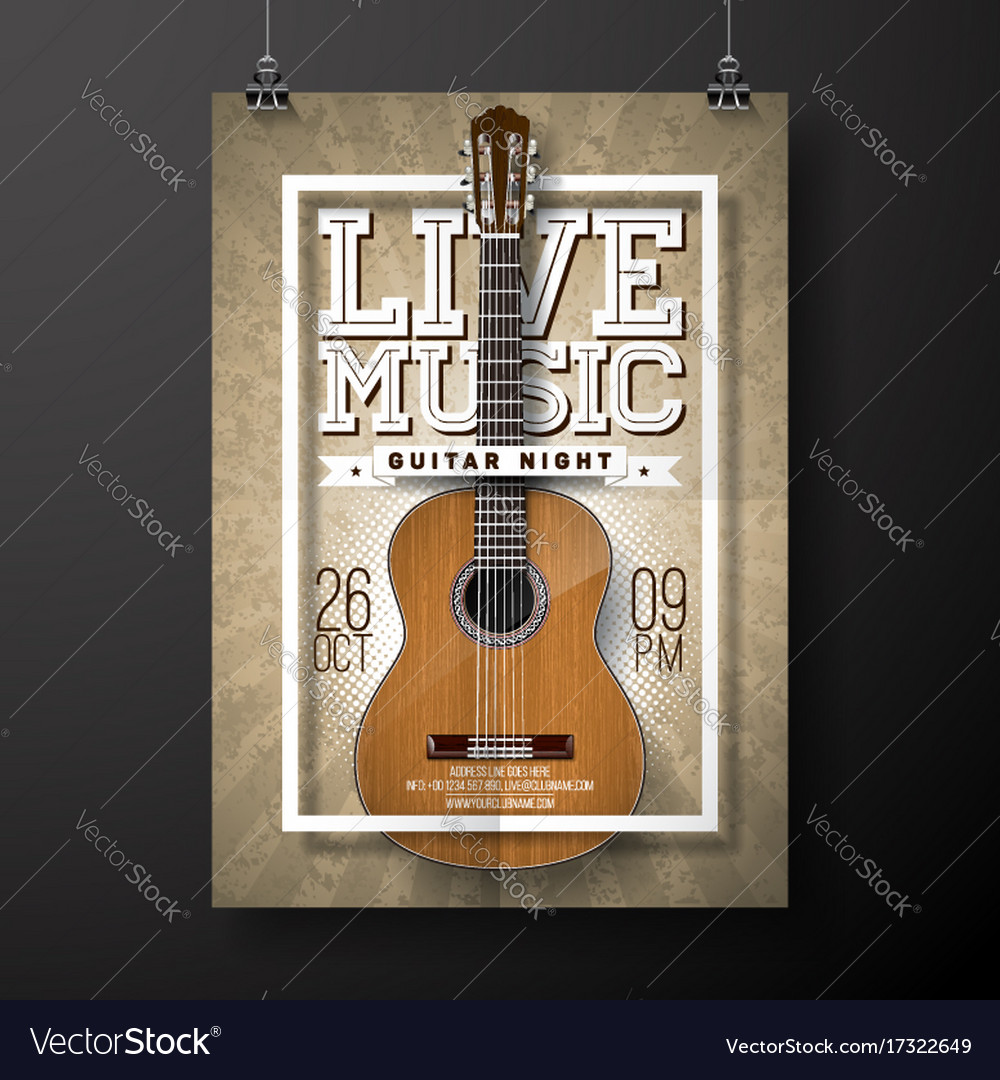 Live music flyer design with acoustic guitar