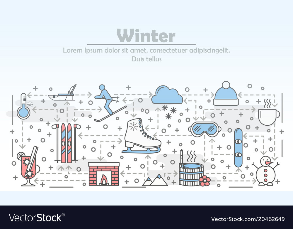 Outdoor winter activities advertising flat
