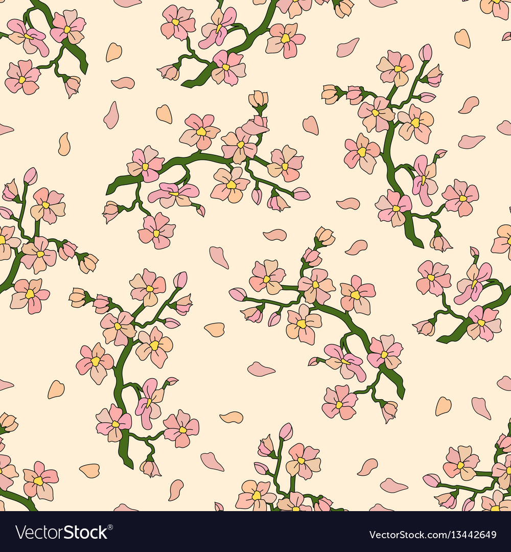 Seamless pattern with branch of cherry blossoms