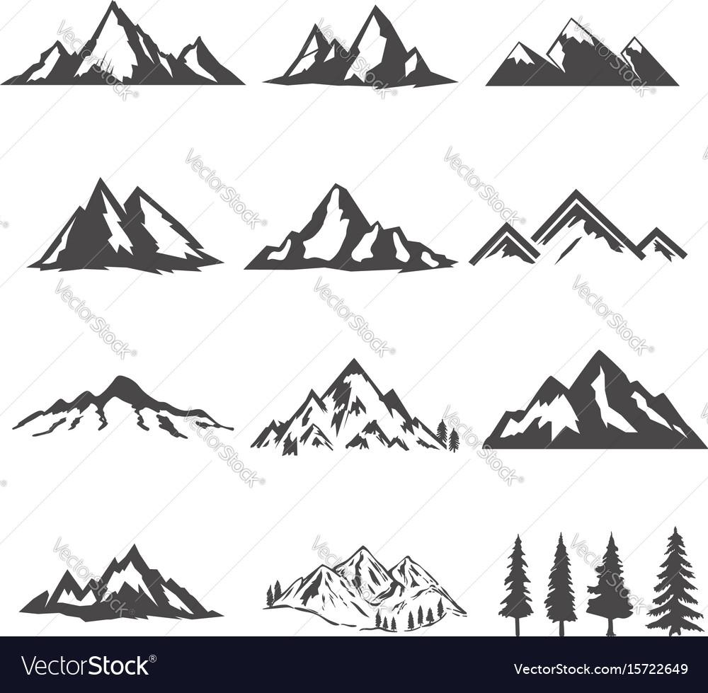 Set mountains isolated on white background