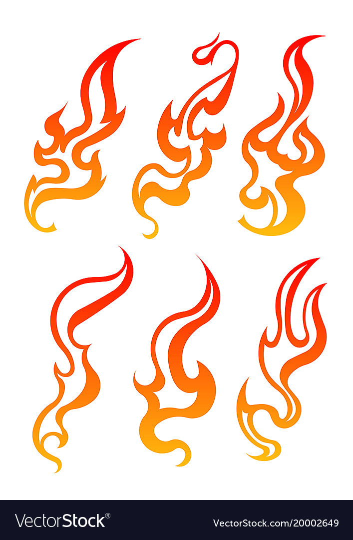 Set of six aggressive colorful fire flames for vector image