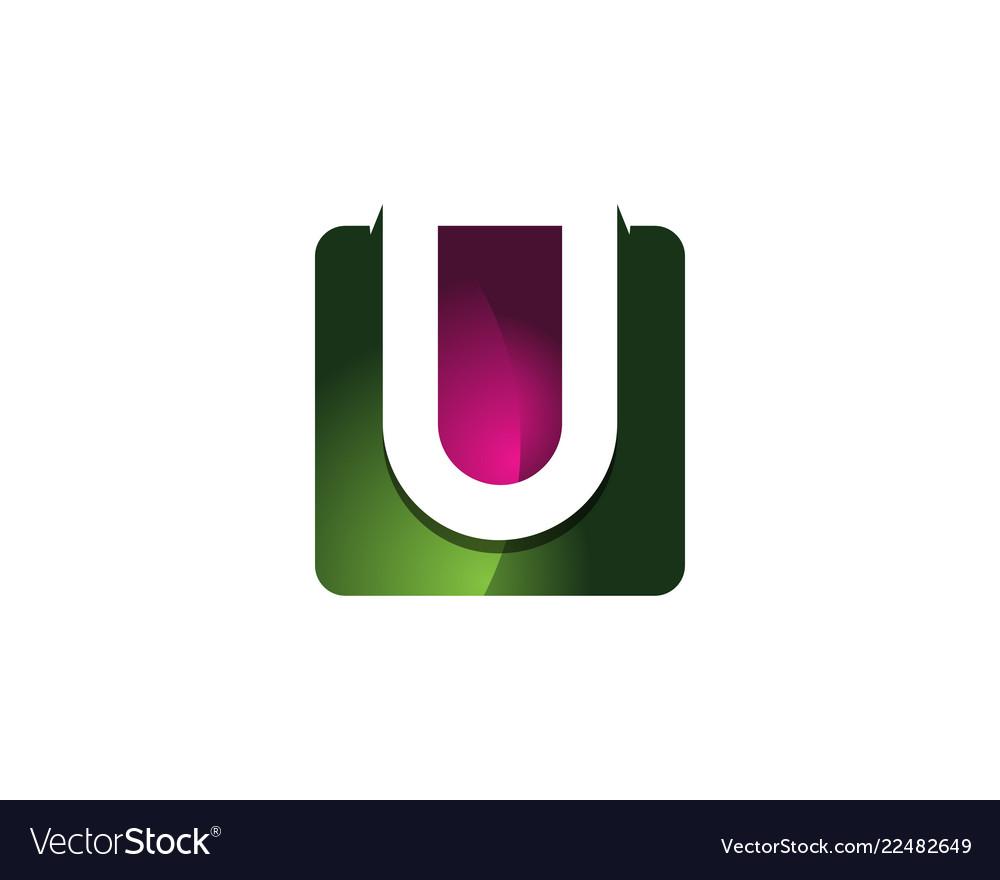 U 3d colorful square letter logo icon design