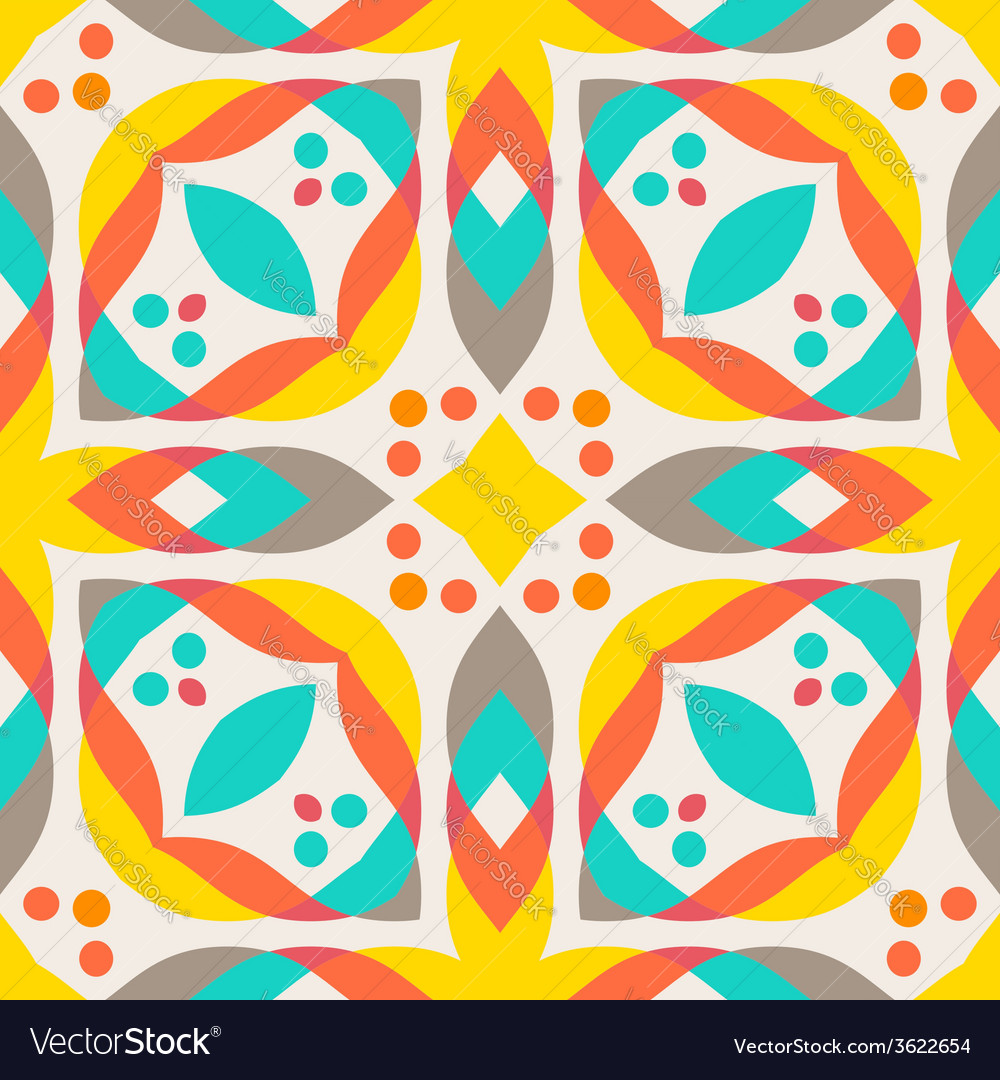 Abstract Geometric Pattern Colorful Floor Tile Vector Image