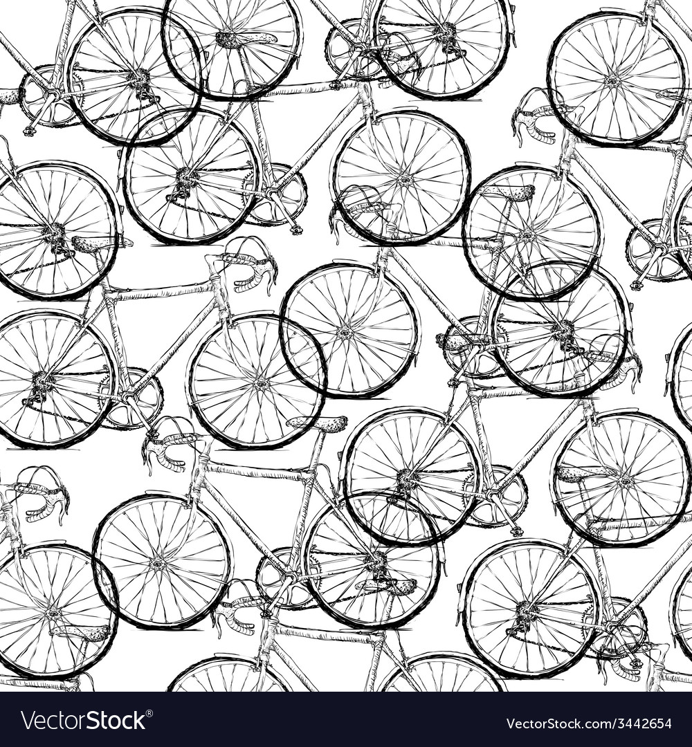 Bicycles seamless pattern simple