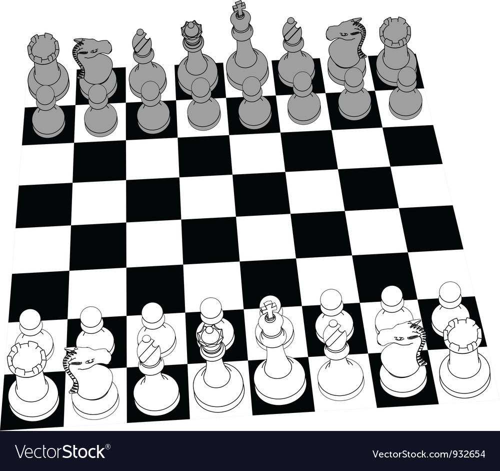 Chess set game pieces line drawing 3D