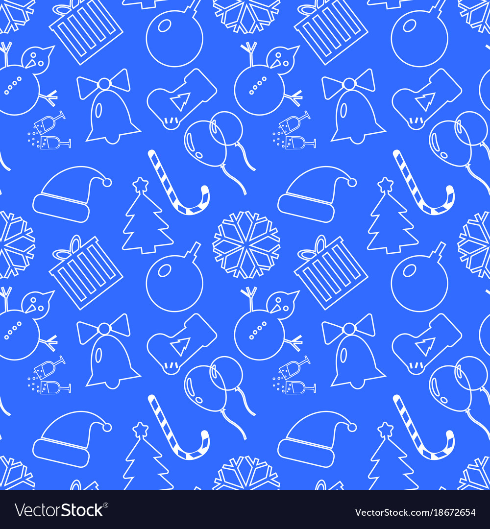 Christmas blue background hand drawn white