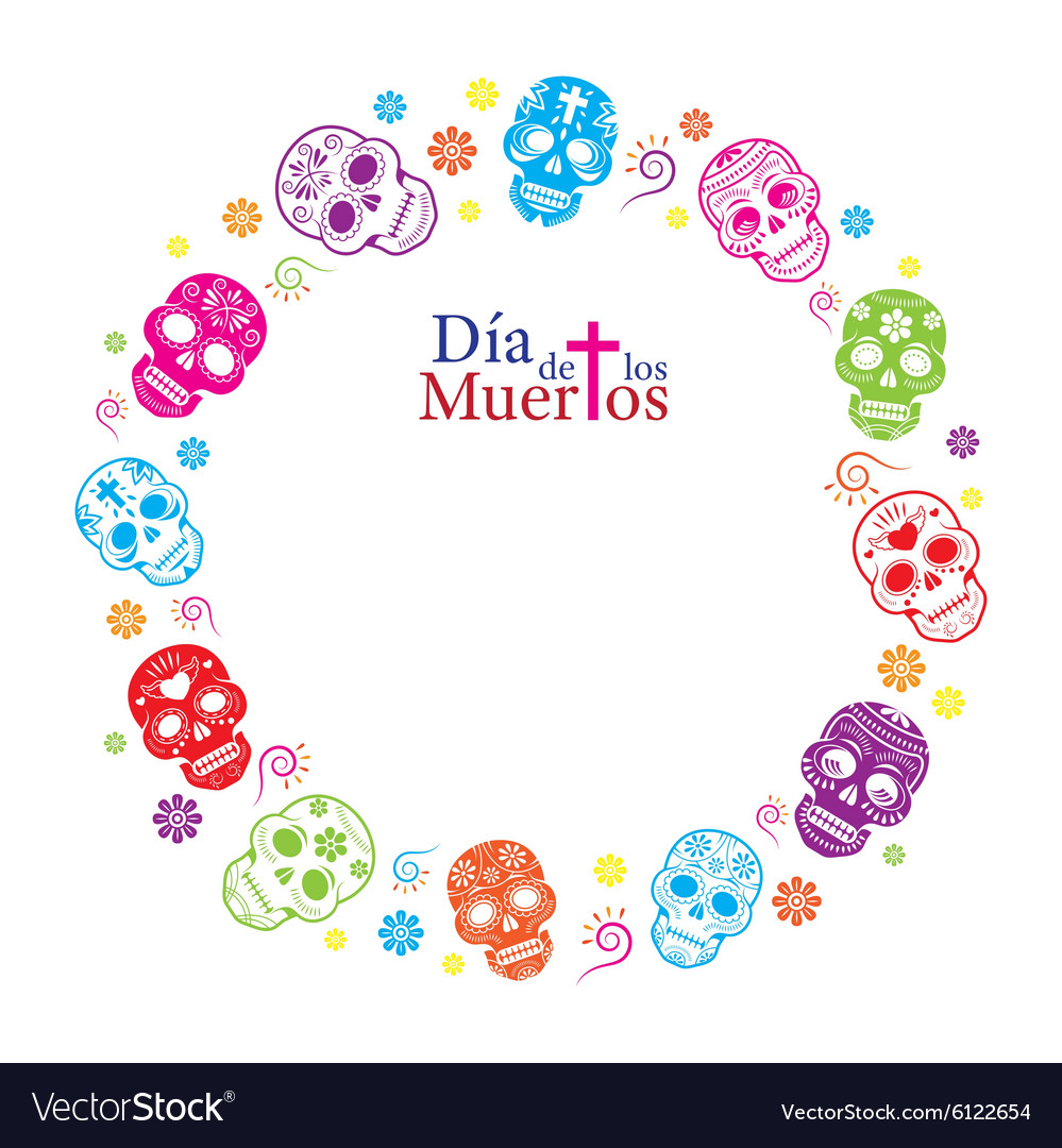 Day Of The Dead Skulls Frame Royalty Free Vector Image