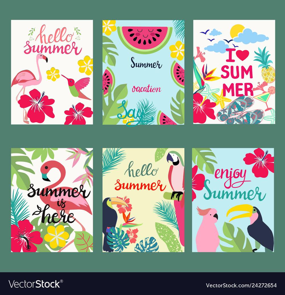 Hand-drawn cartoon set of postcards cards of
