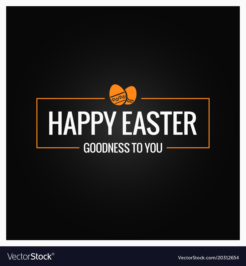 Happy easter frame on black background vector image