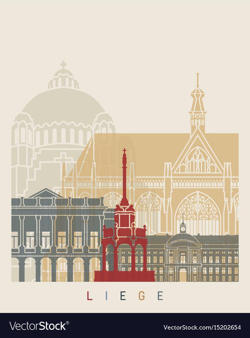 Liege skyline poster vector image