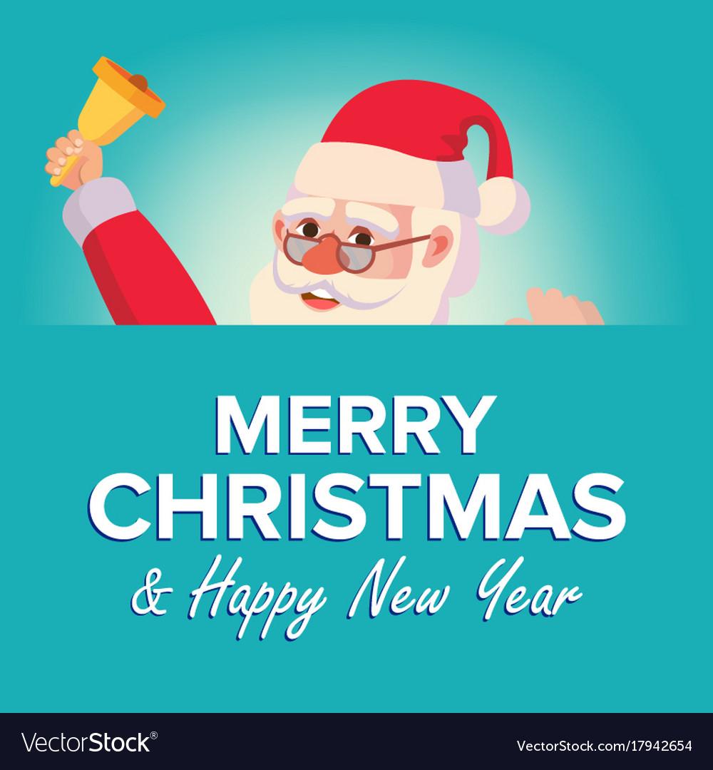 Merry christmas santa claus greeting card vector image