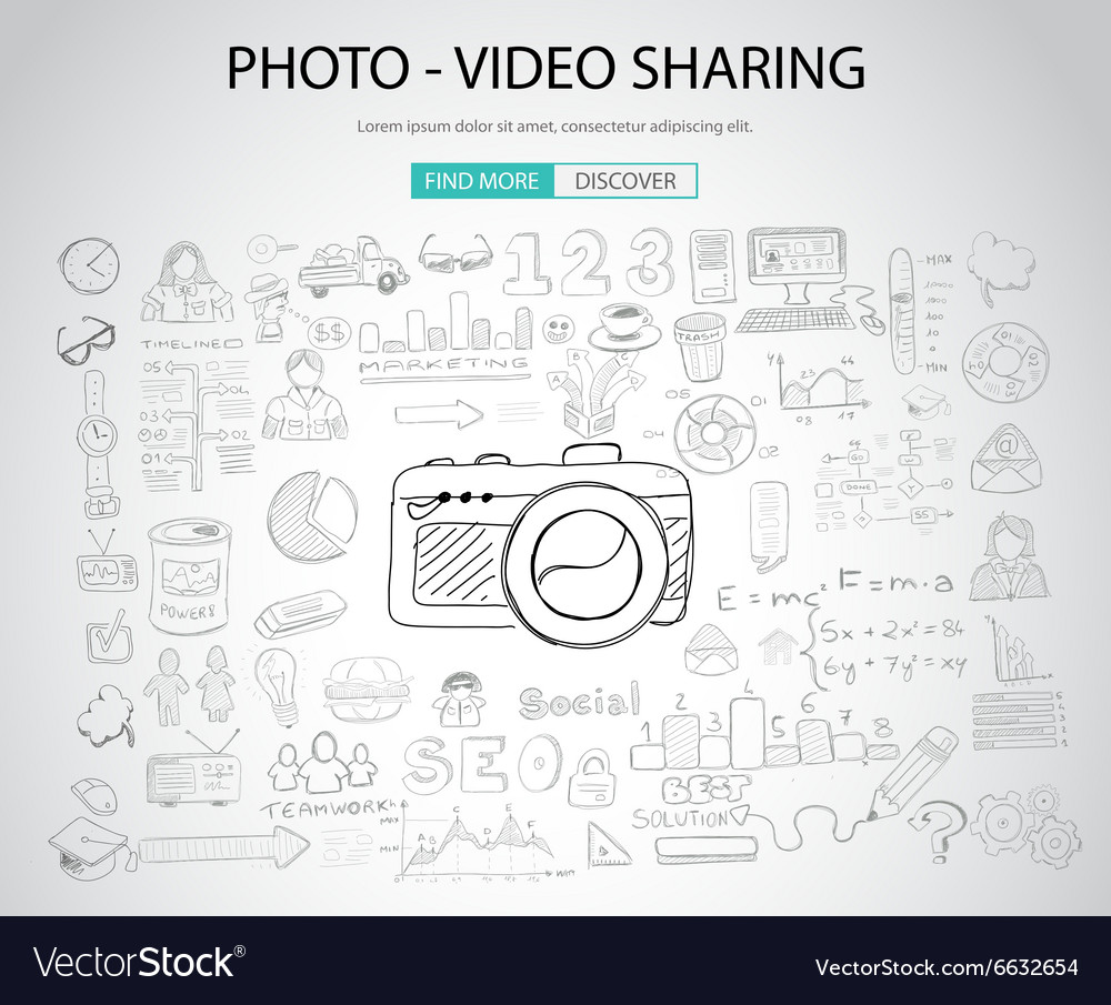Photo Video Sharing concept with Doodle design