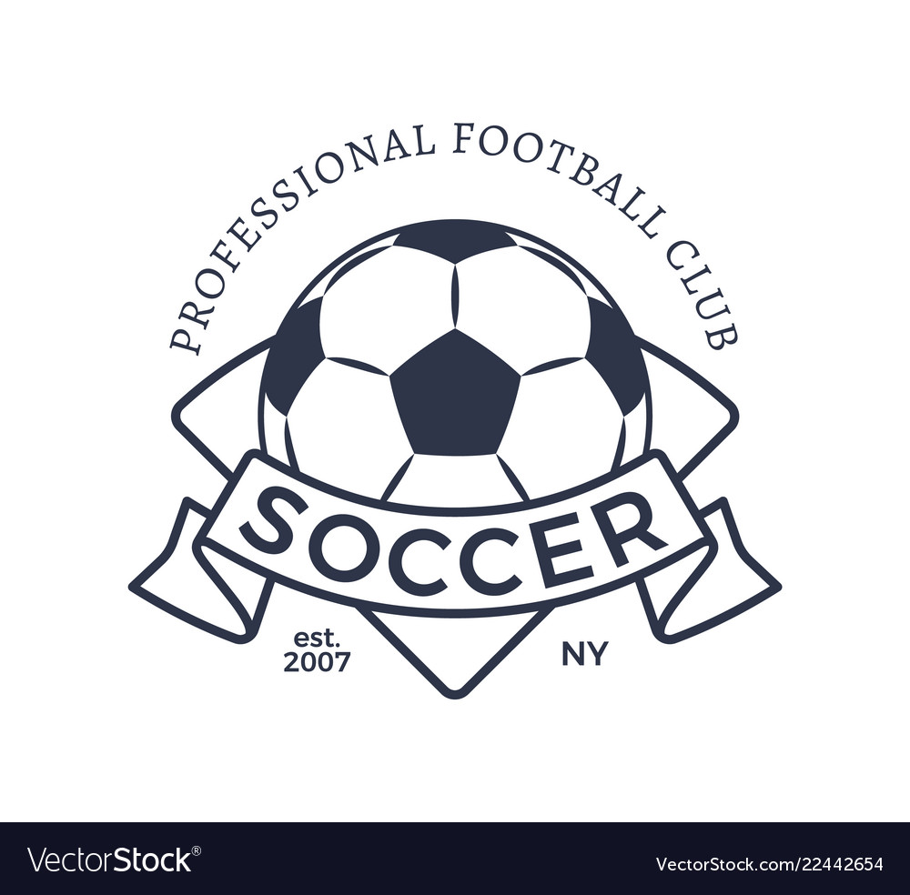 Professional football club badge soccer ball label