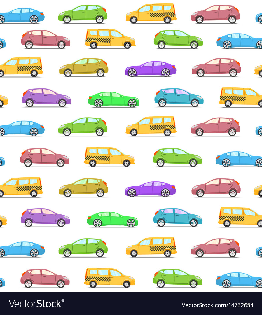 Seamless pattern with colored cars