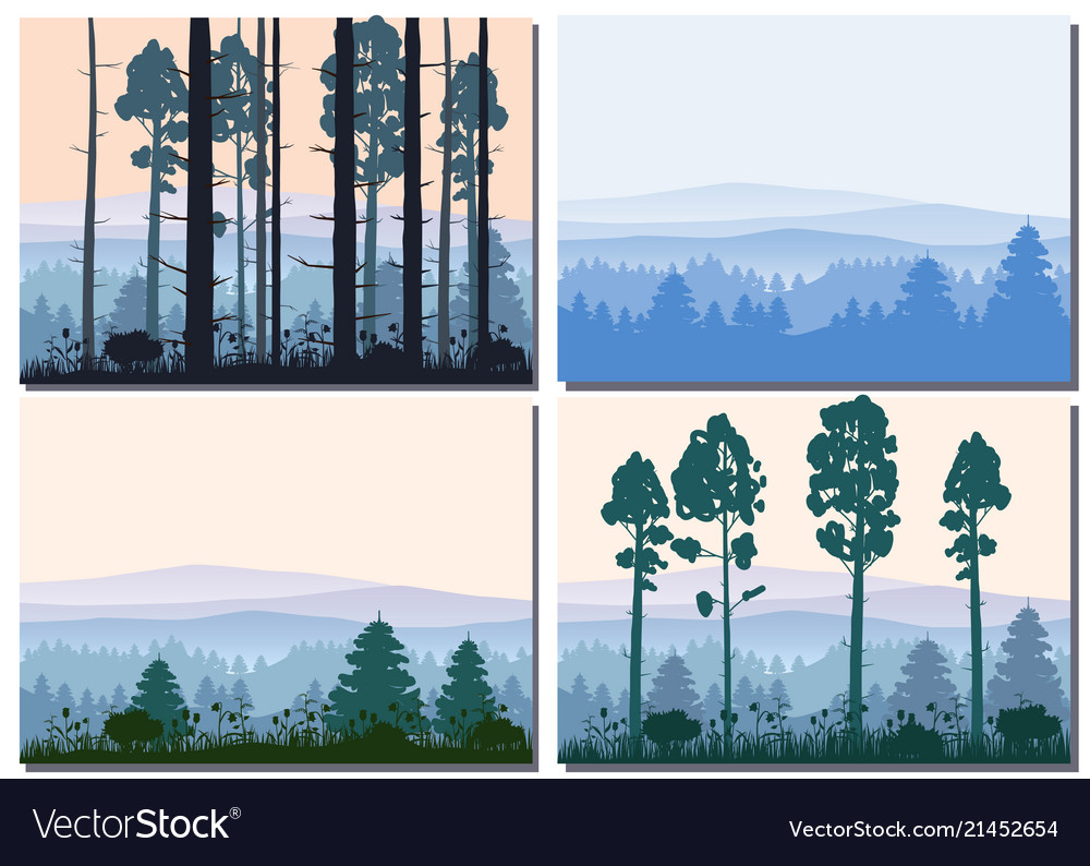Set cards forest silhouettes trees pine fir