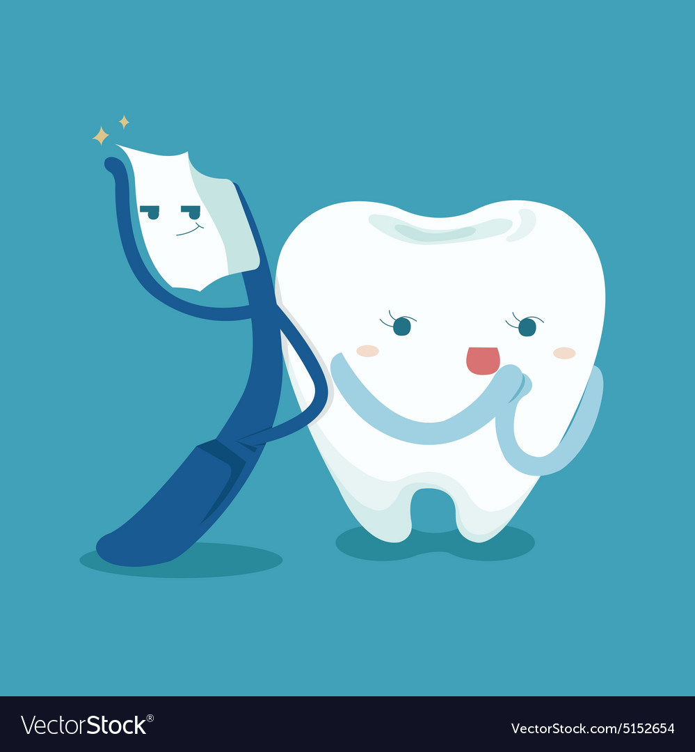 Smart toothbrush and cute tooth Royalty Free Vector Image