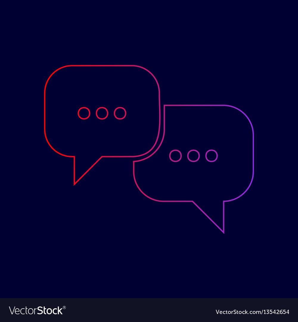 Speech bubbles sign line icon with vector image