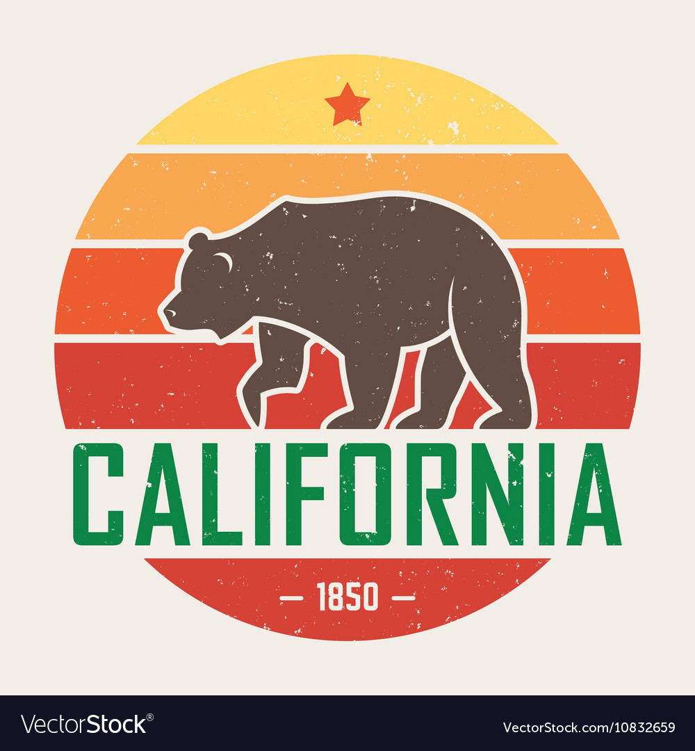 California t shirt with grizzly