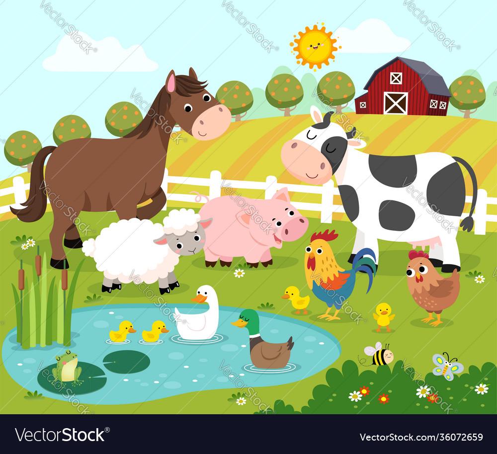 Cartoon happy farm animals