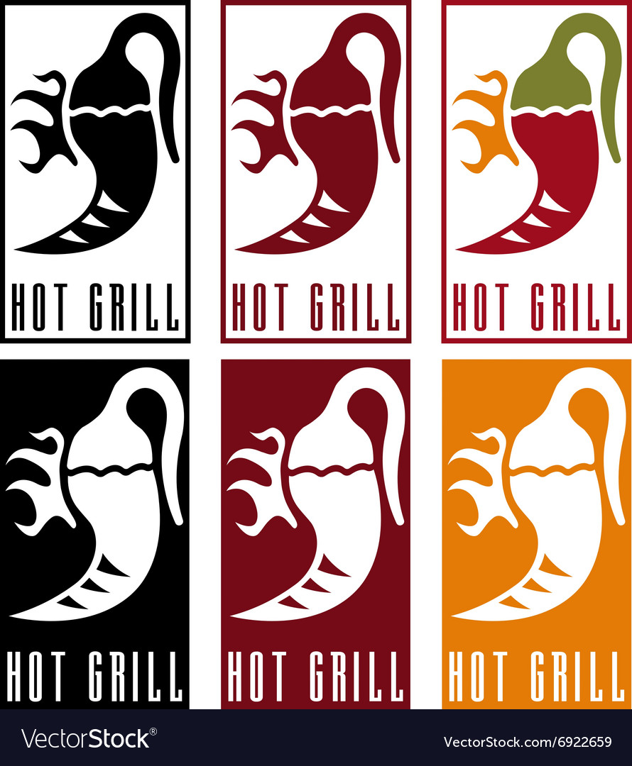 chili pepper with fire labels set royalty free vector image