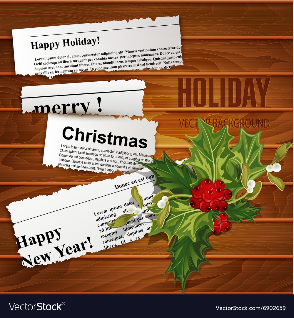 Creative christmas background scraps of newspaper