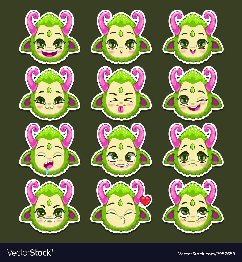 Funny cartoon green monster emotions