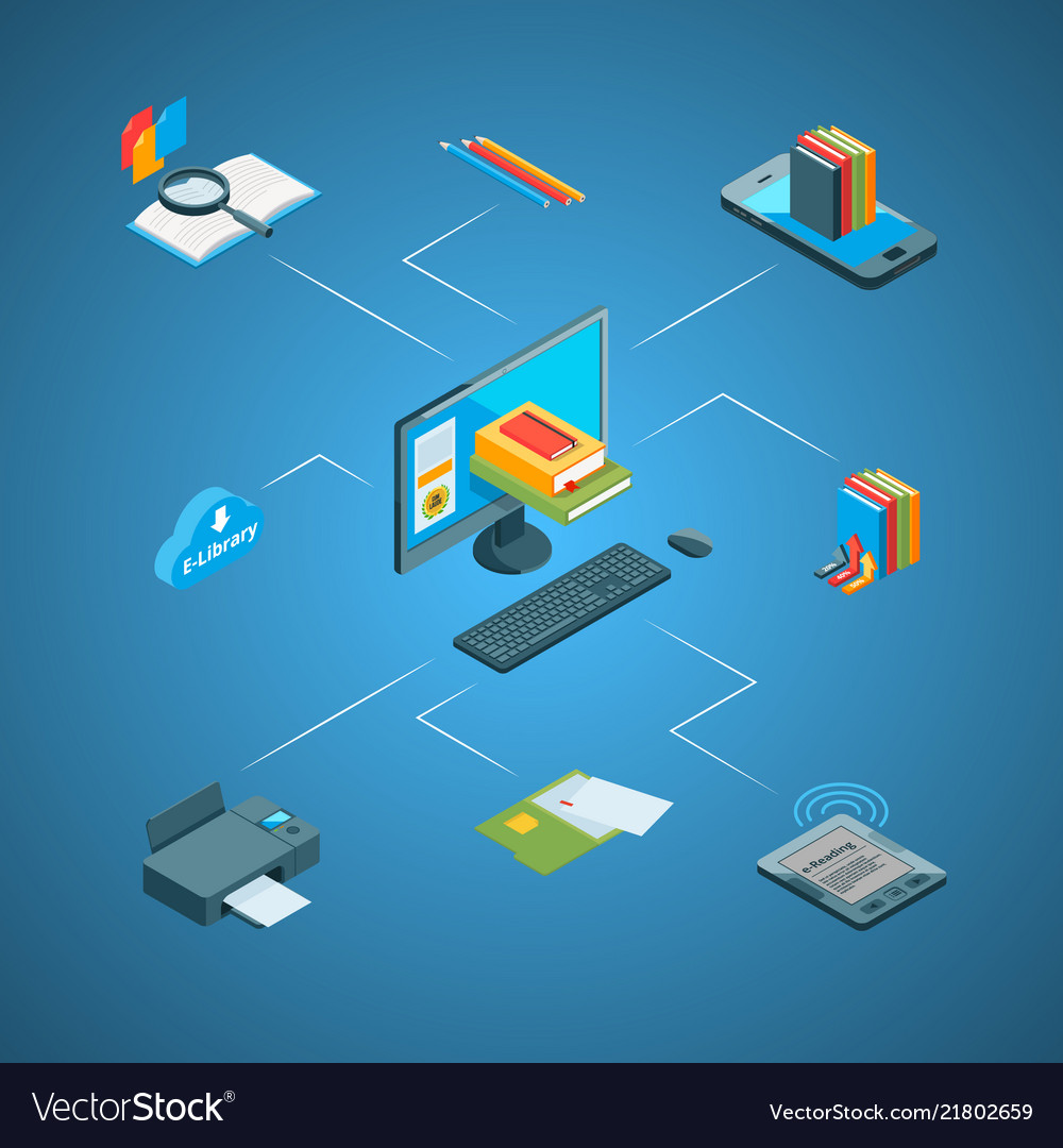 Isometric online education icons