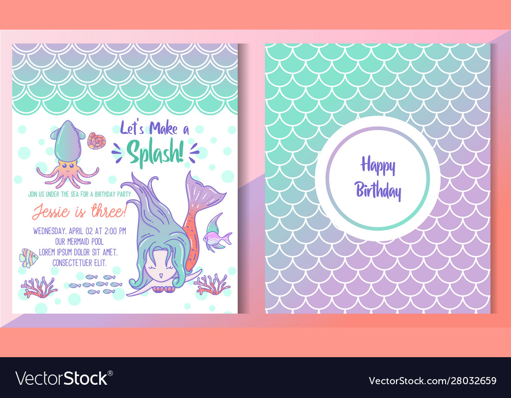 Kids Under Sea Birthday Party Invitation Card
