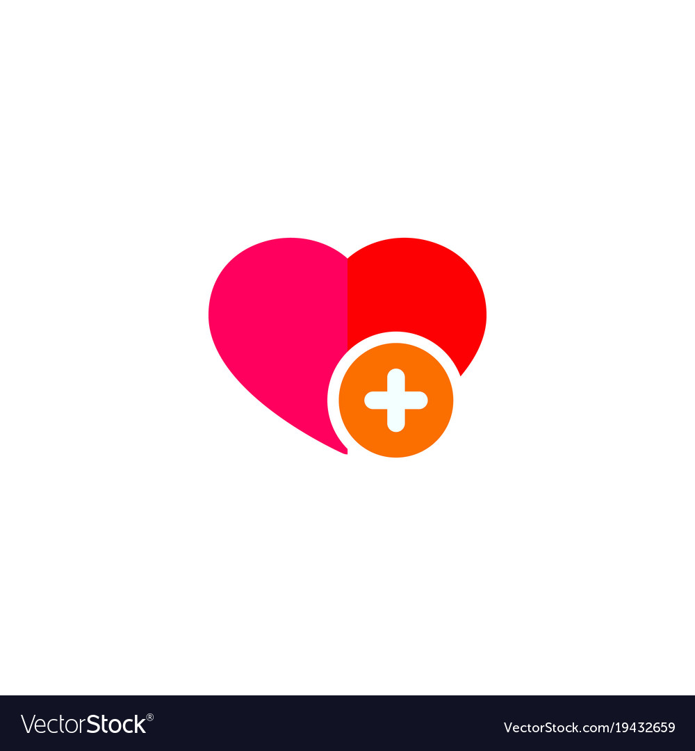 Red Heart Sign With Plus Love Sign Symbol Vector Image