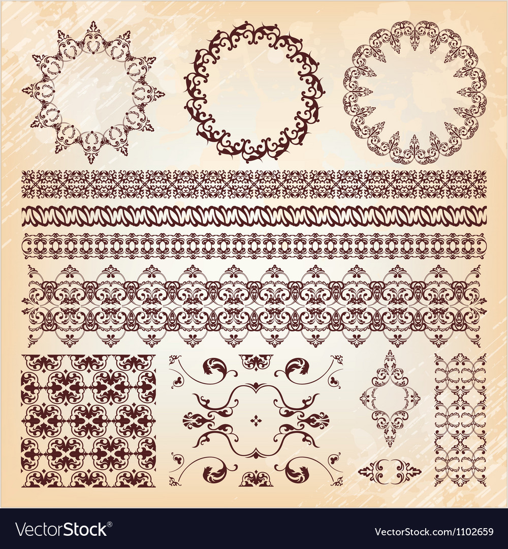 Set of beautiful vintage elements of design vector image