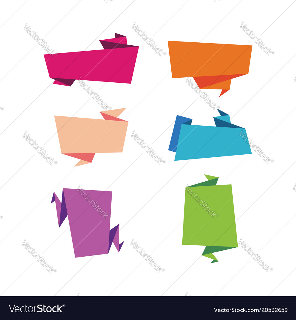 Set of flat ribbons banners isolated on
