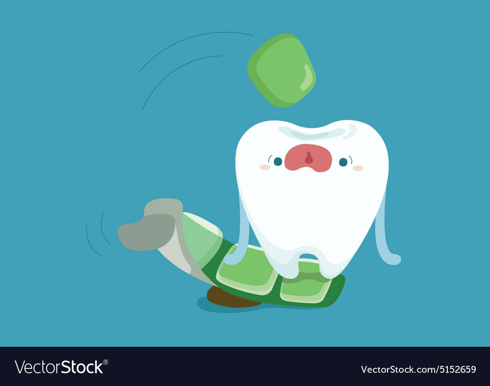 Tooth jumping to eat a chewing gum vector image