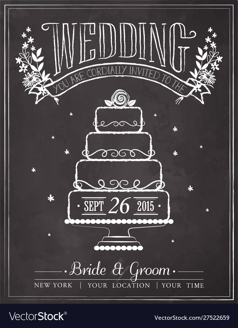 Wedding invitation vintage card vector