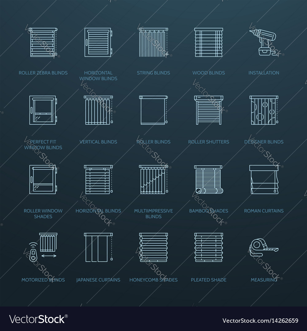 window blinds shades line icons various room vector 14262659 window blinds shades line icons various room vector image