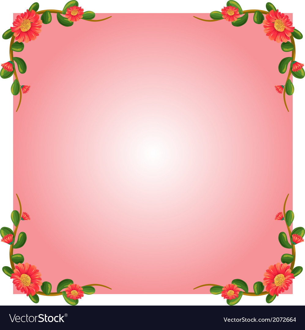 A pink empty border template with flowers vector image