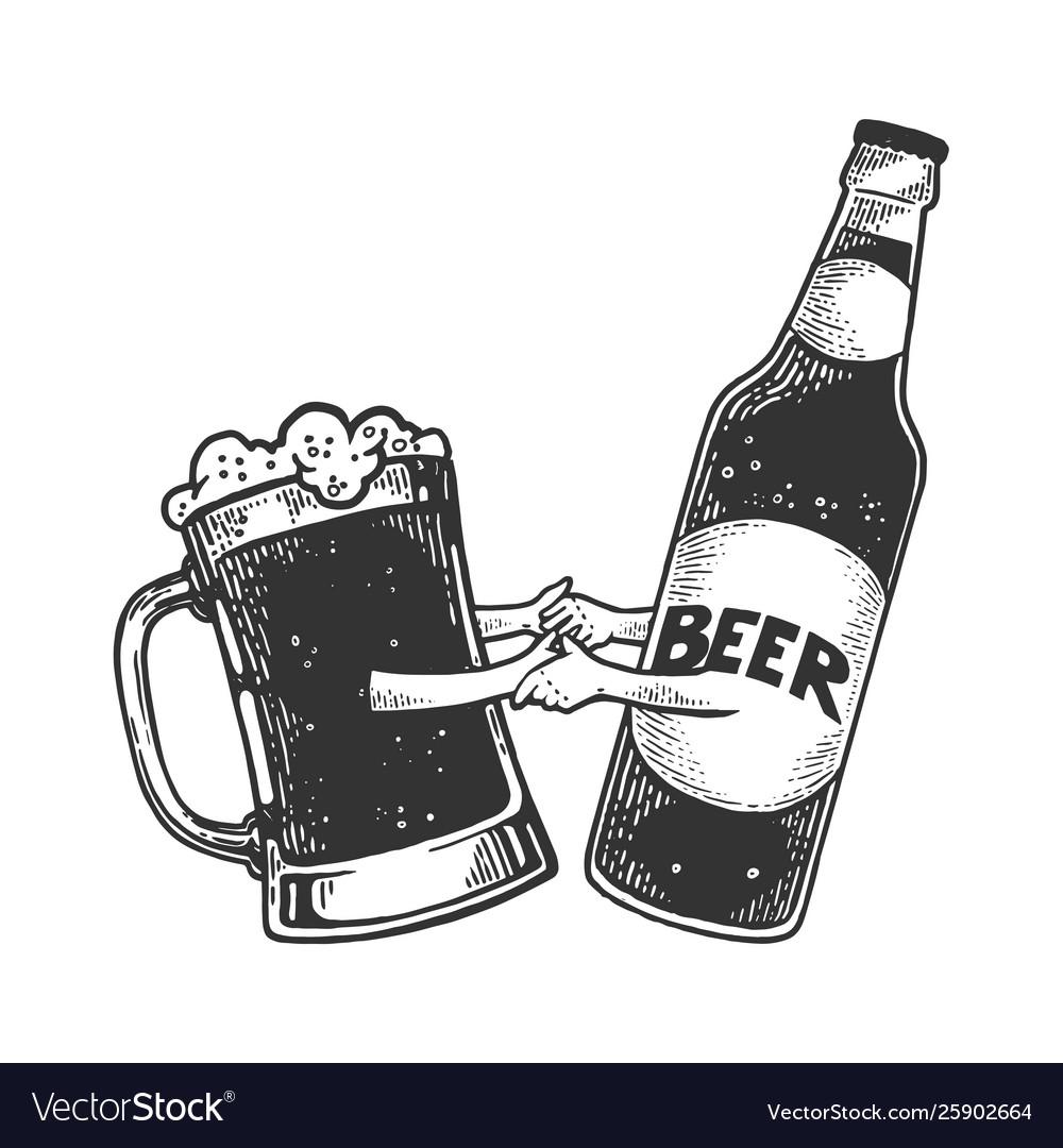 Beer mug dance with bottle sketch engraving
