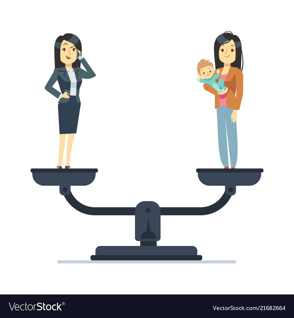 Businesswoman and happy woman kid on scales work